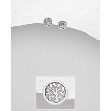 A17182-SS Sterling silver Round Tree ear rings