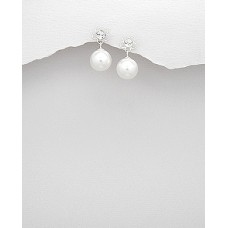 A00603-PE Sterling silver pearl drop ear ring