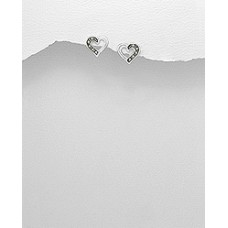 A05739-SS Sterling silver Heart  ear rings