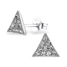 A00020-GR    Sterling silver crystal triangle ear ring