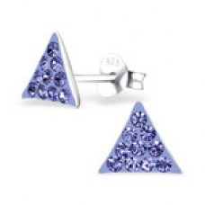 A00020-PU    Sterling silver crystal triangle ear ring
