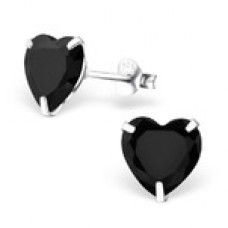 A009XS-BK Sterling silver CZ heart ear rings