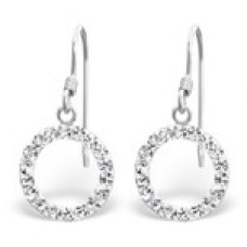 A01083-CR   Sterling silver crystal donut hook ear ring
