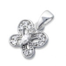 P01791-CR   Sterling Silver Butterfly Pendant Necklace with CZ crystals