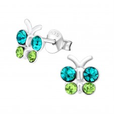 E01042-BL   Sterling Silver b/fly Ear rings with crystals