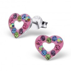 E01053-MX Sterling Silver Open Heart Crystal Ear rings