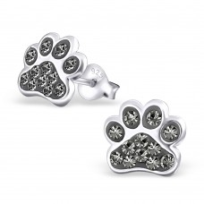 E01088-BK Sterling Silver Paw Ear Rings with crystals