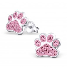 E01088-PK Sterling Silver Paw Ear Rings with crystals