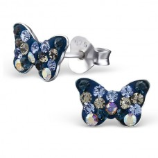 A01261-NV    Sterling Silver Butterfly Ear rings with Crystal