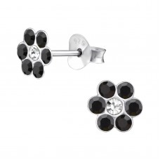 E01263-BK Sterling Silver Crystal Flower stud Ear rings