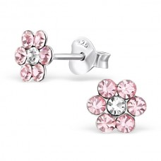 E01263-PK Sterling Silver Crystal Flower stud Ear rings