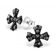 A01294-GR   Sterling silver cross ear rings with crystals