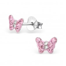 E01438-PK    Sterling Silver Butterfly Ear rings with Crystal