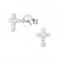 BB0011-CR   Sterling Silver Tiny Cross Ear Rings with crystals