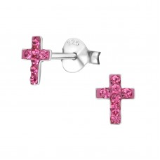BB0009-PK   Sterling Silver Tiny Cross Ear Rings with crystals