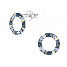 A01577-NV   Sterling silver open crystal donut ear ring