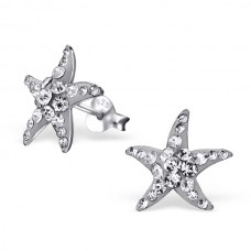 E00172-GR  Sterling Silver Star Fish Ear rings