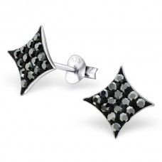 A00175-BK Sterling silver square ear rings with crystals