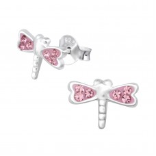 E01804-PK Sterling Silver Dragon fly Ear Rings with crystals