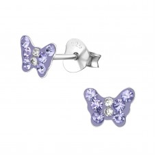 E01992-PU    Sterling Silver Butterfly Ear rings with Crystal