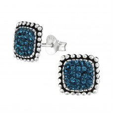A02162-NV  Sterling silver square stud ear ring with crystals