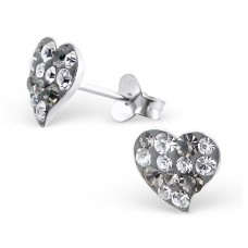 A00232-GR Sterling silver heart ear rings with crystals