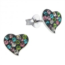 A00232-MX Sterling Silver Heart Ear Rings with crystals