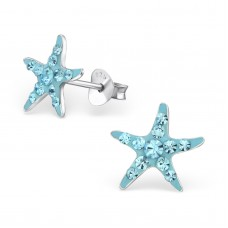 A02973-AQ   Sterling Silver Star Fish Ear rings