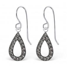 A01078-GR   Sterling silver crystal tear hook ear ring