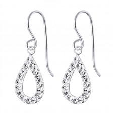 A01078-CR   Sterling silver crystal tear hook ear ring