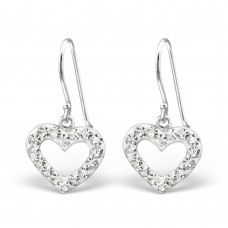 A01080-CR   Sterling silver Crystal Heart hook ear ring