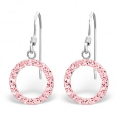 A01083-PK   Sterling silver crystal donut hook ear ring