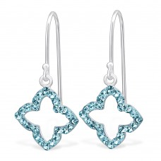 A01440-AQ  Sterling silver CRYSTAL hook ear ring