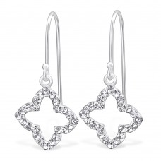 A01440-CR  Sterling silver CRYSTAL hook ear ring