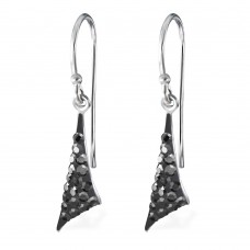 A01442-GR   Sterling silver crystal triangle hook ear ring
