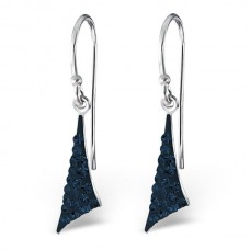 A01442-NV   Sterling silver crystal triangle hook ear ring