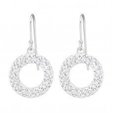 A00177-CR   Sterling silver big crystal donut hook ear ring