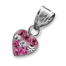 P00018-PK   Sterling Silver Crystal Heart Pendant Necklace