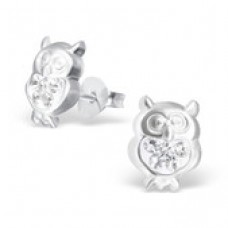 E00010-CR Sterling Silver Owl Ear rings with clear crystals