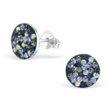 A00042-MX  Sterling silver navy crystal mix ear ring