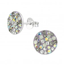 A00042-GR  Sterling silver grey crystal mix ear ring