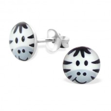 E00030-BK Sterling Silver Zebra Head Ear Rings