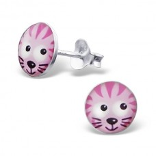 E00030-PK Sterling Silver Cat Head Ear Rings