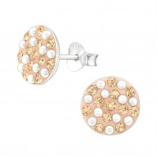 A00042-PE  Sterling silver Peach crystal mix ear ring