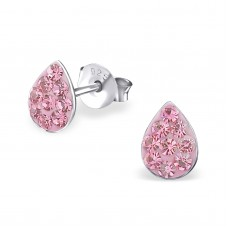 E00016-PK Sterling Silver Tear Ear rings with pink crystals