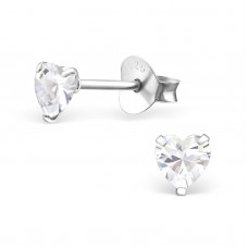 E0004H-CR Sterling Silver Heart stud Ear rings