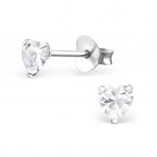 E0004H-CR Sterling Silver Heart stud Ear rings