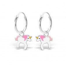 ER1459-PK   Sterling Silver unicorn Ear rings with epoxy