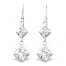 A00103-CR Sterling silver double crystal square hook ear rings