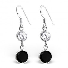 A00110-BK Sterling silver crystal double round hook ear rings